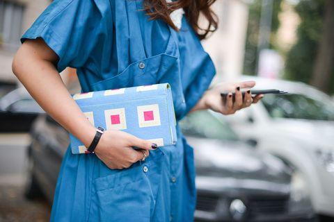 Street fashion, Blue, Denim, Clothing, Turquoise, Fashion, Pink, Jeans, Shoulder, Electric blue,