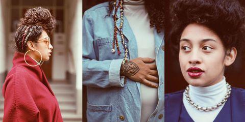 Hairstyle, Collar, Jewellery, Fashion accessory, Style, Wrist, Eyelash, Fashion, Neck, Black hair,