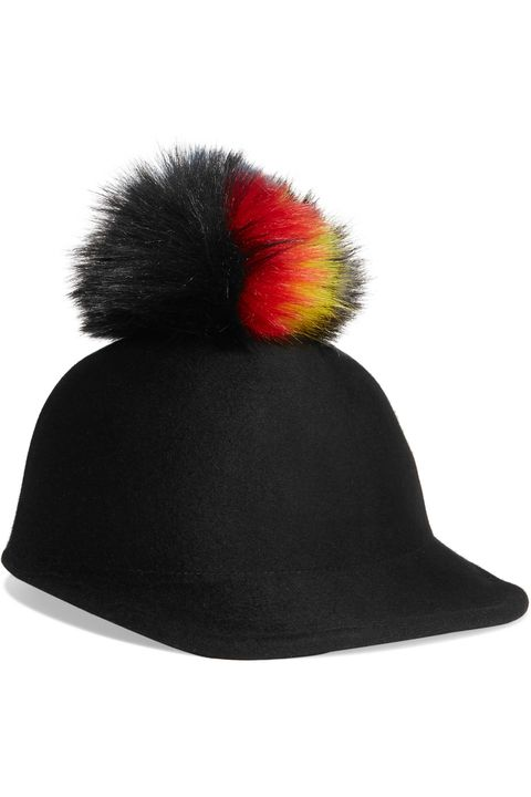 Headgear, Costume accessory, Carmine, Black, Costume hat, Costume, Coquelicot, Fedora, Pom-pom,