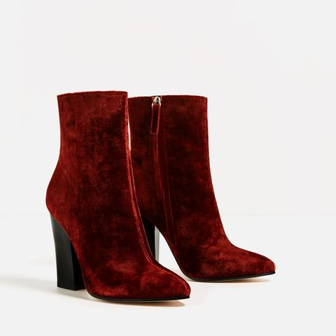 Boot, Carmine, Maroon, Leather, Synthetic rubber,