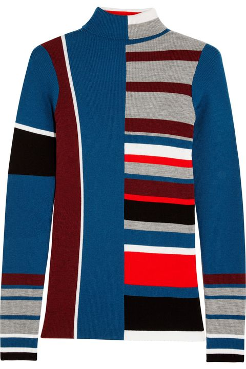 Blue, Sleeve, Collar, Textile, Outerwear, Red, Pattern, Line, Electric blue, Fashion,