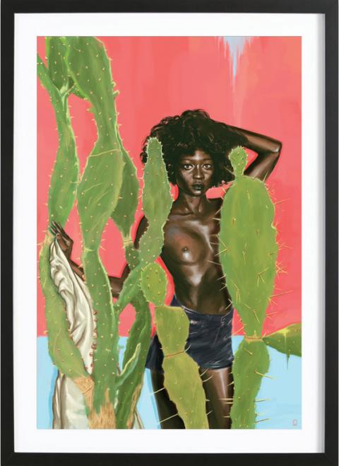 Green, Terrestrial plant, Cactus, Painting, Visual arts, Illustration, Boot, Produce, Caryophyllales, Flesh,