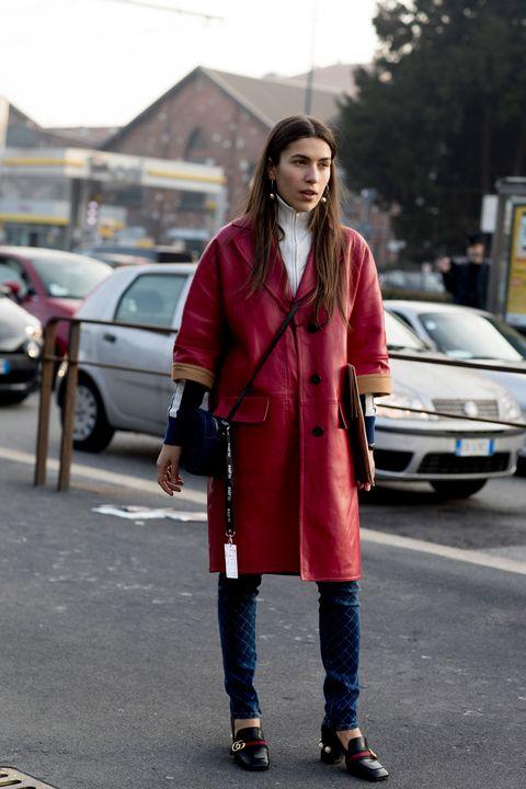 Clothing, Outerwear, Automotive exterior, Coat, Car, Street, Automotive parking light, Street fashion, Bag, Auto part,