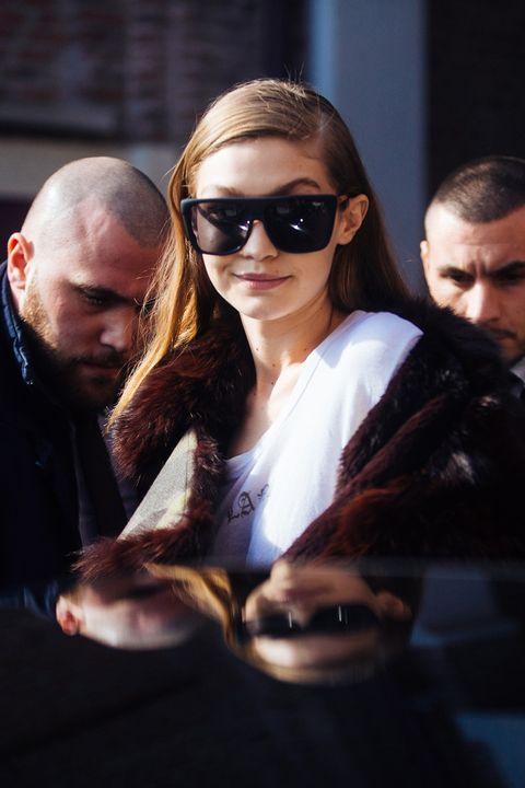 Gigi Hadid Models Off Duty Milan Fashion Week AW17
