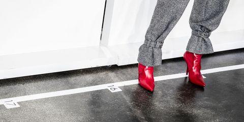Red, White, Footwear, Leg, Black, Human leg, Shoe, Black-and-white, Ankle, High heels,