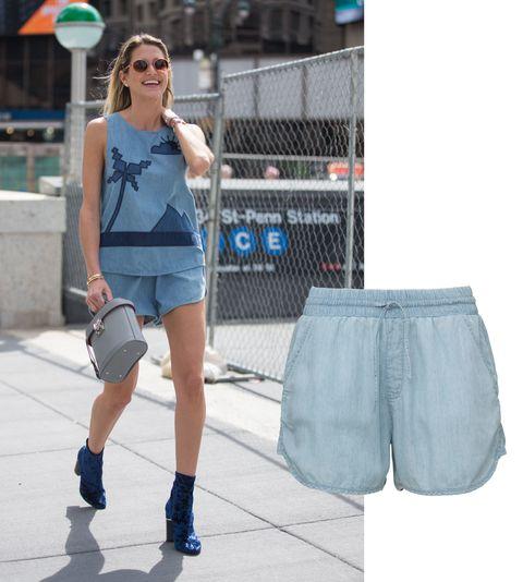 Clothing, Blue, Denim, Human leg, Textile, Bag, Sunglasses, Style, Street fashion, Electric blue,