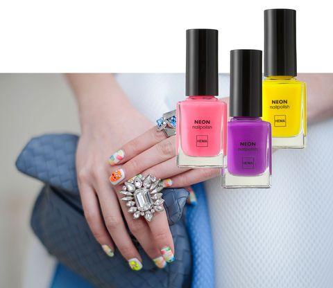 Nail polish, Nail, Nail care, Cosmetics, Pink, Manicure, Finger, Beauty, Yellow, Purple,