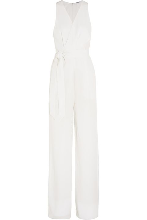 White, Clothing, Overall, Trousers, Dress, Outerwear, One-piece garment, Sleeve, Suit, Formal wear,