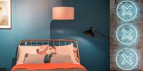 Lampshade, Lighting accessory, Room, Turquoise, Wall, Furniture, Orange, Bed, Lighting, Interior design,