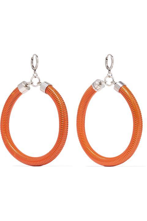 Earrings, Orange, Jewellery, Fashion accessory, Body jewelry, Circle, Metal,
