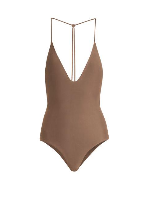 Clothing, One-piece swimsuit, Swimwear, Brown, Monokini, Leotard, Maillot, Lingerie, Undergarment, Beige,