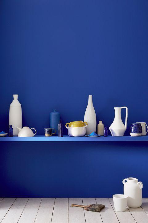 Blue, Porcelain, Ceramic, Shelf, Cobalt blue, Teapot, Wall, Still life photography, Still life, Tableware,