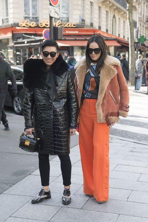 Photograph, Street fashion, Clothing, Fashion, People, Orange, Snapshot, Sunglasses, Outerwear, Street,