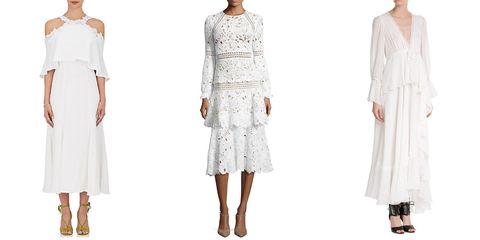 Spring wedding dresses - midi dresses, white silk maxi dresses