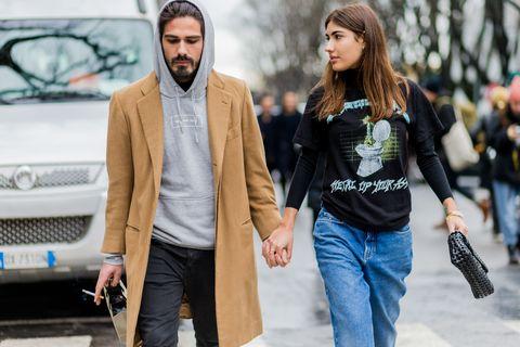 Street fashion, Fashion, Yellow, Jeans, Human, Outerwear, Car, Vehicle, Jacket, Textile,