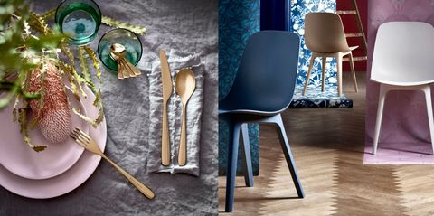 Blue, Chair, Furniture, Table, Lighting, Room, Lampshade, Interior design, Wallpaper, Textile,