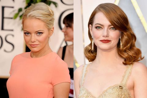 <p>Hoewel Emma's haren op de linkse foto geblondeerd zijn, is blond wel haar natuurlijke haarkleur. In een interview vertelde ze dat ze haar haar heeft geverfd nadat ze naar LA&nbsp;is verhuisd en sindsdien kennen we de actrice vooral met rode lokken.&nbsp;</p>