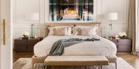 Bedroom, Furniture, Bed, Room, Bed frame, Interior design, Bedding, Bed sheet, Wall, Mattress,