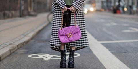 Pink, Street fashion, Clothing, Fashion, Tights, Footwear, Shoulder, Plaid, Neck, Pattern,