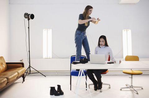 Furniture, Standing, Room, Design, Interior design, Sitting, Table, Stool, Desk, Studio,