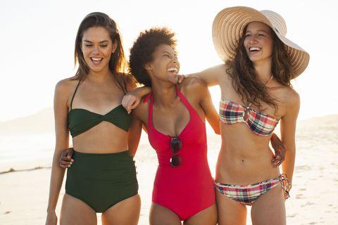 Swimwear, Bikini, Clothing, Swimsuit top, Swimsuit bottom, People on beach, Vacation, Undergarment, Fun, Summer,