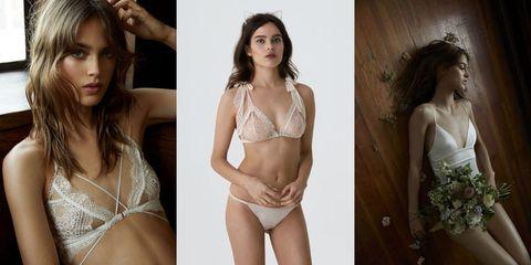 Clothing, Lingerie, Undergarment, Brassiere, Fashion model, Model, Beauty, Long hair, Brown hair, Photo shoot,