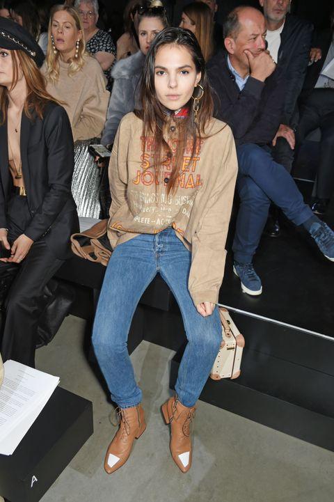 Clothing, Jeans, Leg, Denim, Fashion, Event, Fashion model, Textile, Outerwear, Fashion show,