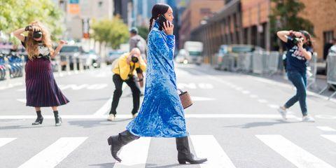 Photograph, Street fashion, People, Blue, Fashion, Yellow, Snapshot, Footwear, Pedestrian, Street,