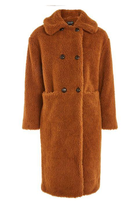 Clothing, Coat, Outerwear, Overcoat, Sleeve, Brown, Tan, Orange, Trench coat, Fur,