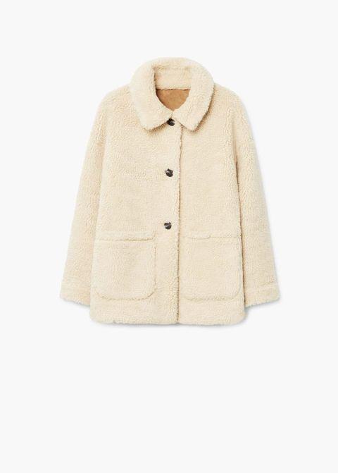 Clothing, Outerwear, Sleeve, Beige, Collar, Fur, Jacket, Coat, Top, Pocket,