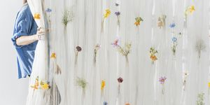 Draped flower curtain