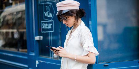 Blue, Snapshot, Eyewear, Shoulder, Street fashion, Headgear, Photography, Electric blue, Glasses, Hat,
