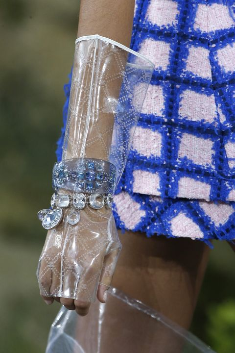 Clothing Detail at the Chanel  Paris show as part of the Paris Fashion Week Womenswear Spring/Summer 2018 on October 3, 2017 in Paris, France.