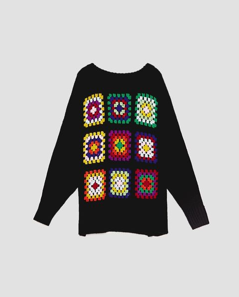 Clothing, Sleeve, Outerwear, Sweater, Pattern, Font, Embroidery, Pattern, Design, Long-sleeved t-shirt,