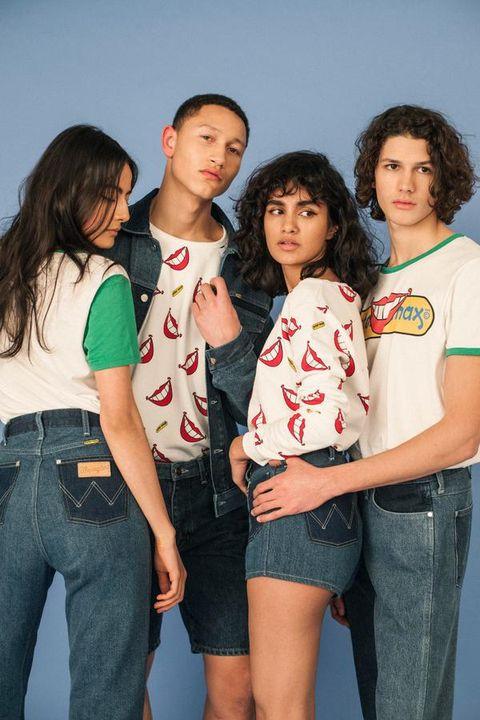 Youth, Social group, Jeans, Fun, Friendship, Fashion, Denim, T-shirt, Leg, Textile,