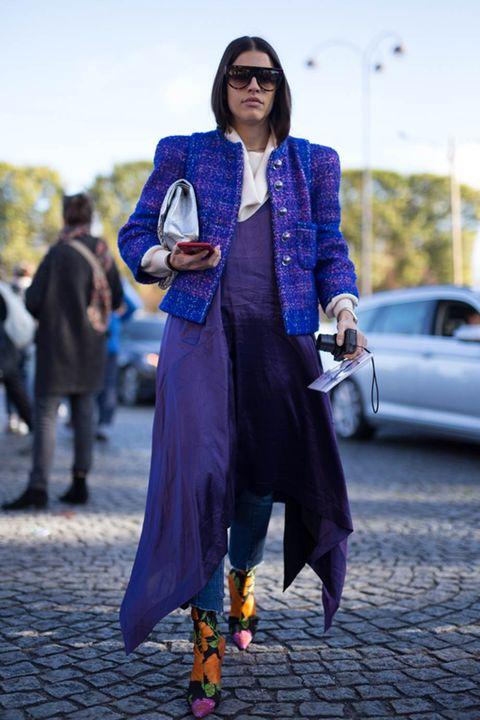 Cobalt blue, Street fashion, Clothing, Blue, Fashion, Purple, Electric blue, Outerwear, Footwear, Jeans,