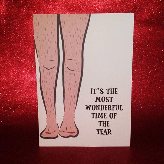 Grappige kerstkaart harige benen