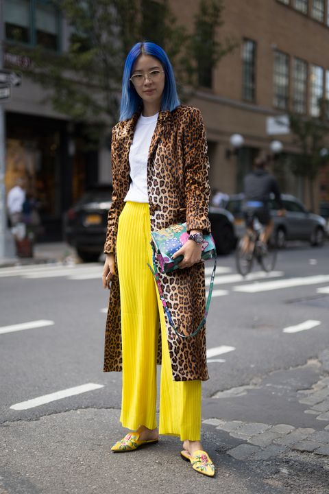 Clothing, Street fashion, Yellow, Fashion, Snapshot, Outerwear, Dress, Fashion model, Footwear, Electric blue,