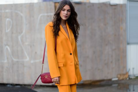 Clothing, Orange, Street fashion, Yellow, Fashion, Pink, Outerwear, Fashion model, Coat, Blazer,