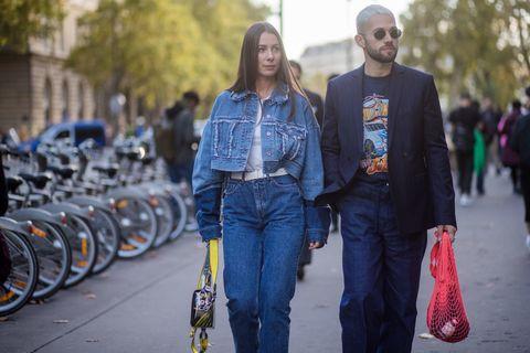 Jeans, Denim, Street fashion, People, Clothing, Fashion, Yellow, Cobalt blue, Jacket, Textile,