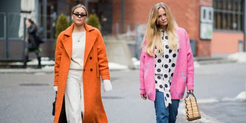 Clothing, Street fashion, Pink, Orange, Fashion, Coat, Outerwear, Yellow, Overcoat, Blazer,