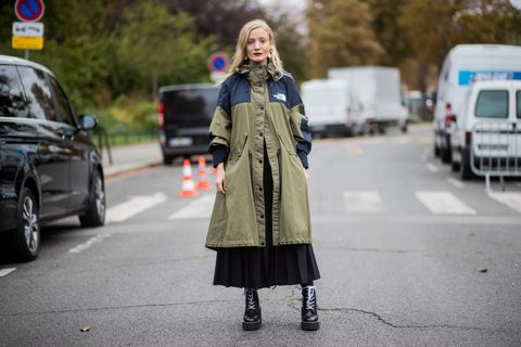 Street fashion, Clothing, Photograph, Fashion, Coat, Snapshot, Outerwear, Footwear, Street, Dress,