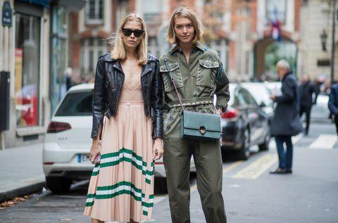 Street fashion, Fashion, Photograph, Clothing, Snapshot, Eyewear, Street, Sunglasses, Footwear, Jacket,