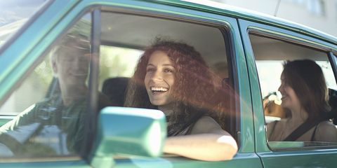 Motor vehicle, Eye, Vehicle door, Automotive exterior, Mammal, Happy, Tooth, Facial expression, Glass, Black hair,