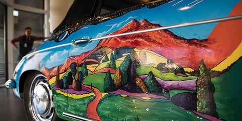 Green, Hood, Fender, Art, Paint, Automotive lighting, Classic car, Art paint, Bumper, Painting,