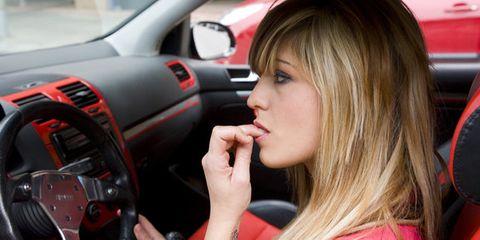 Lip, Mouth, Automotive design, Steering part, Automotive mirror, Steering wheel, Car, Eyelash, Carmine, Nail,