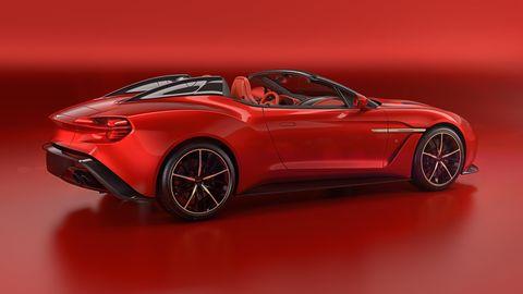 Land vehicle, Car, Sports car, Automotive design, Vehicle, Red, Concept car, Supercar, Auto show, Performance car,