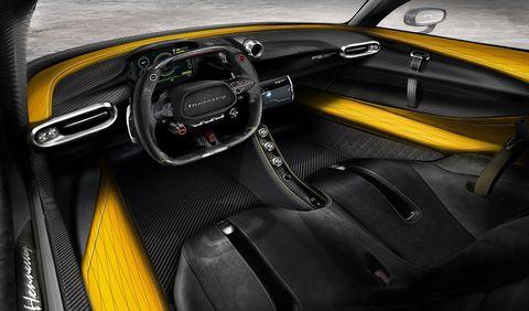 Land vehicle, Vehicle, Car, Yellow, Center console, Automotive design, Steering wheel, Concept car, Supercar, Performance car,