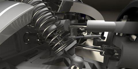 Automotive design, Machine, Pipe, Parallel, Monochrome, Black-and-white, Steel, Engineering, Suspension part, Suspension,