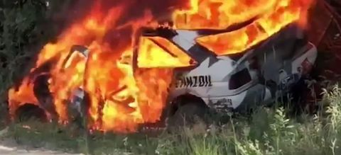 Fire, Explosion, Vehicle, Event, Firefighter, Wildfire, Car, Geological phenomenon, Flame, Art,